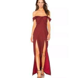 50% NBD x Revolve Corah Maroon off shoulder gown